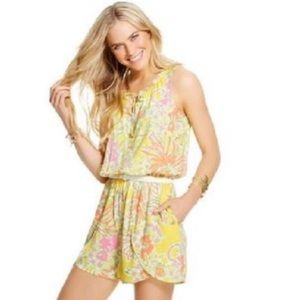 Lilly Pulitzer Challis Happy Place Romper shorts